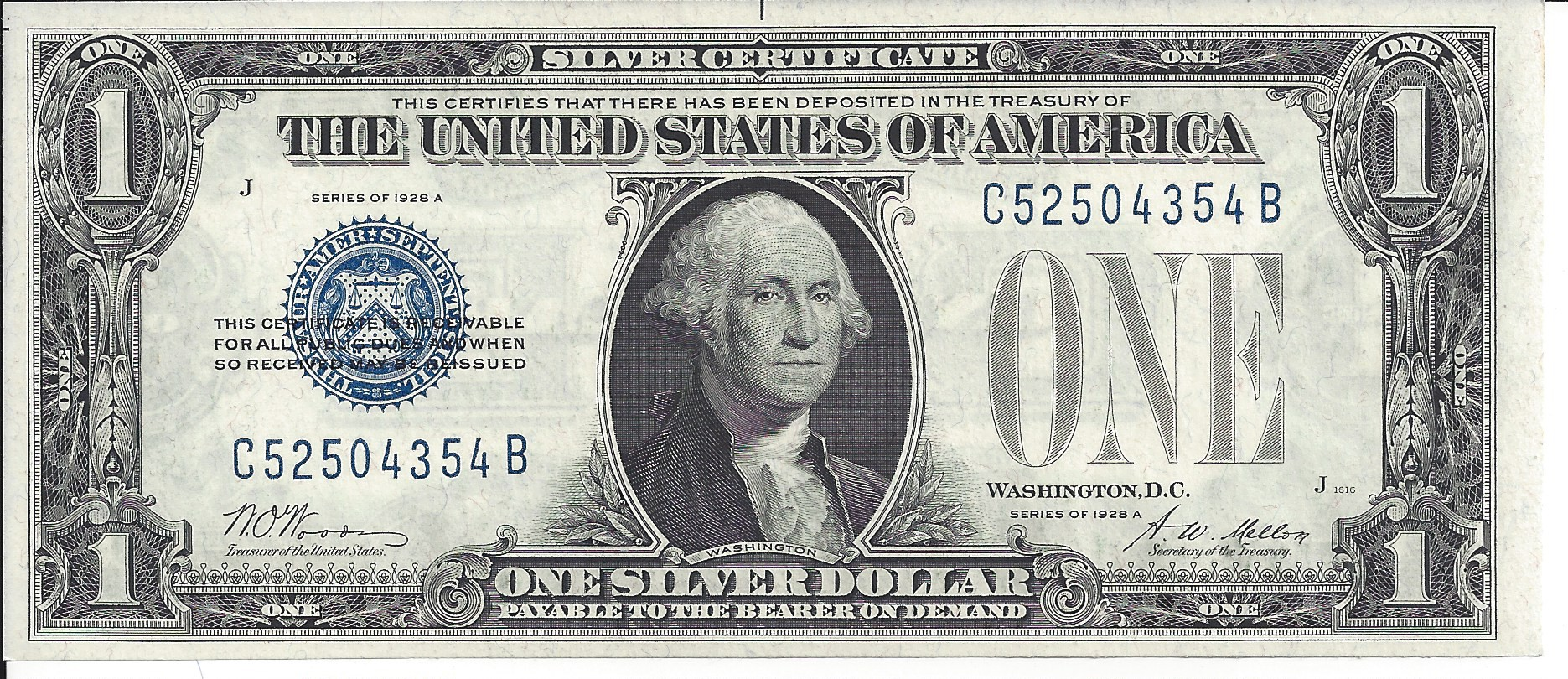 1928 silver series certificate certificates mellon 1601 uncirculated woods choice fr funny