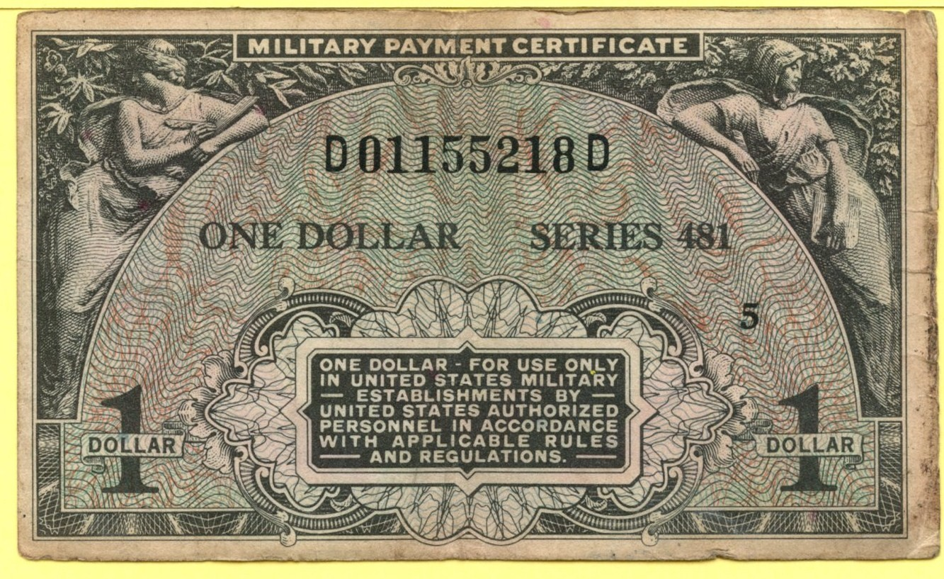 Military Payment Certificates Series 481 1954